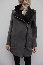 River Island Grey Wool Asymmetric Collared Biker Jacket Coat Size 10 38 US 6 New