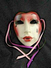Vintage Art Pottery Wall Hanging Mask- Clay Art San Francisco- Sad Crying Woman