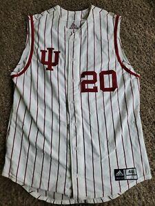 INDIANA Hoosiers #20 Adidas Baseball NCAA Team Issued Jersey Sz 48 Game