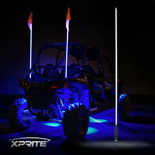 XPRITE 5FT Blue LED Whip Light Flag Antenna for ATV UTV JEEP Sand Dunes Buggy
