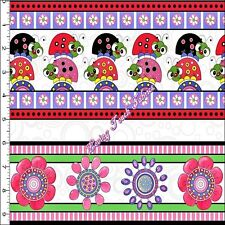 """QT """"LAZY LITTLE LADYBUGS"""" 24384-X FLORAL STRIPED FABRIC PRICED PER 1/2 YD"""