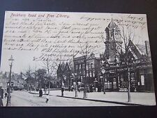 PECKHAM ROAD, AND  THE FREE LIBRARY, NR CAMBERWELL, NEW CROSS, PM 1904 BROCKLEY