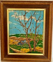 "Vintage Midcentury Framed Fabric Print Blue Brown Landscape 11"" x 13"""