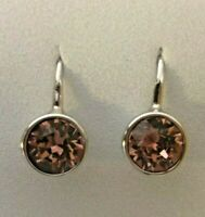Origami Owl Silver Lever Back w/ Light Rose Crystal Earrings