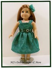 Green Sparkle Organdy & Satin Party Dress fits American Girl Doll