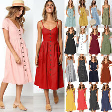 UK Womens Holiday V Neck Button Pocket Ladies Summer Beach Midi Swing Sun Dress