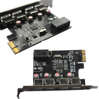Super Speed USB 3.0 2.0 PCI-E PCIE 4 PORTS Express Expansion Card Adapter UKSF