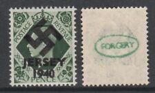 GB Jersey 3604 -1940 Swastika Overprint forgey om genuine 9d stamp unmounted