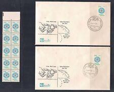 2 ARGENTINA FDC SCOTT #1338 + STRIP OF 10 ARGENTINA'S CLAIM ON FALKLAND ISLANDS