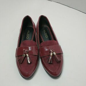 ALDO Burgundy Tassel Patent Loafers Women's Size 6
