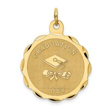 14K Yellow Gold Graduation Day with Diploma Brocaded Disc Solid Polished Pendant