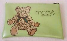 "Macy's New York Teddy Bear Green Cosmetic Bag Makeup Pouch Organizer 5"" x 8"""