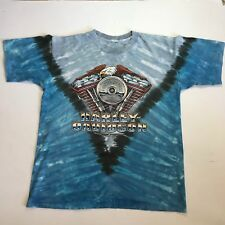 Vintage Harley Davisdon Tie Dye T Shirt Blue Motor Eagle Men