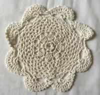 VINTAGE Small White Crochet Doily Table Centre Tray Cloth
