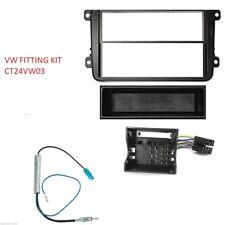 VW Passat B6-3C2 2005 2011 Kit de montaje Negro Fascia panel de doble DIN Single &