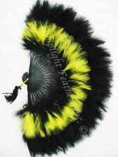 Feather Fan Marabou Black/FLUORESCENT Yellow MIX per Each
