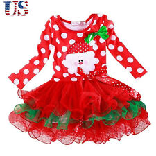 Cute Girls Kids Party Tutu Dress Long Sleeve Princess Tulle Skirts For Age 5-6