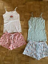 Shorty Pyjama Sommer Schlafanzug 2x Damen Gr. 32 / 34