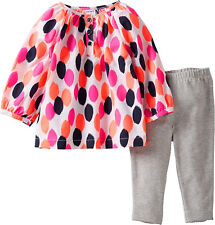 Carter's 2-Piece Multi Color Dot Top Gray Leggings Set 3 Months