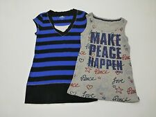 Girls Justice Size 14 Striped T Shirt & Sparkle Ribbe Tank Top Shirt