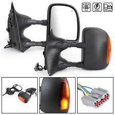 Tow Mirror Power Heat With Amber Signal Light RH+LH Fit 99-07 Ford Super Duty