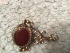 9ct Gold Seal Swivel Fob Charm Pendant Onyx Cornelian Blood Stone  very old