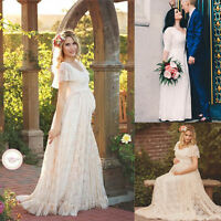 cbec6154955 US Pregnant Women Lace Floral Long Maxi Dress Maternity Gown Photography  Props