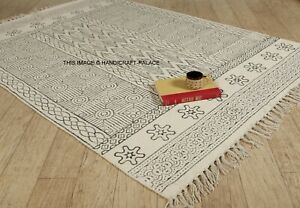 4 X 6 ft Beige Black Cotton Block Print Area Accent Dhurrie Rug Hand Woven Throw