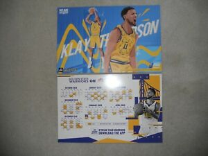 Golden State Warriors 2019/2020 SCHEDULE Cheer card Poster +  klay Thompson