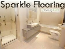 BEIGE Sparkly Bathroom Flooring / Glitter Effect Vinyl Floor. Cream Sparkle Lino