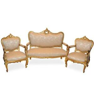 Antique Parlor Set, Sofa, Side Chairs, Table, 8 pieces, Ornate Gilded, 1800s!!