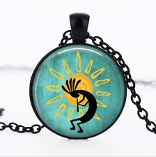 Kokopelli Sun Dance Black Glass Cabochon Necklace chain Pendant Wholesale