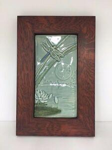 Medicine Bluff Dragonfly Moon Tile Arts & Crafts Mission Style Oak Park Frame