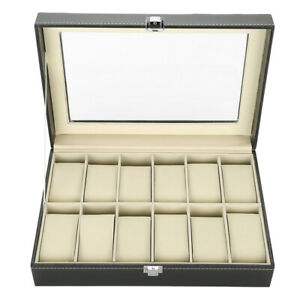 Watch Display Case 12 Grids PU Leather Luxury Watch Box Large Capacity Elegant