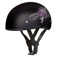 DOT Daytona Skull Cap Helmet w/ Purple Rose