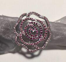 Disney Swarovski Sterling Silver Ombre Pink Flower Cocktail Ring 5.75