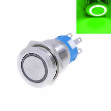 19mm Metal ON / OFF Push Button 12v Switch GREEN LED Angel Eye Waterproof fu