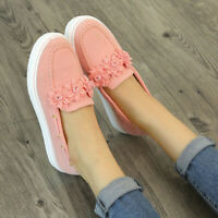 Womens Flats Round Toe Flowers Casual Loafers Slip On Driving Shoes Fashion Plus