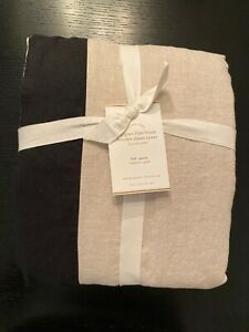 POTTERY BARN BELGIAN FLAX LINEN BORDER DUVET CONTRAST FULL / QUEEN Natural Black