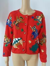 Michael Simon Red Sweater Applique TEDDY BEARS Jingle Bells Buttons Sz S