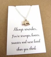 Always Remember Rose Gold Silver Plated Elephant Message Card Necklace Gift