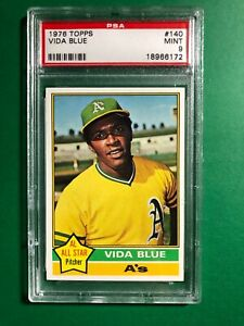 1976 Topps Vida Blue PSA 9 MINT #140 Beautiful Centering and Color Oakland A's
