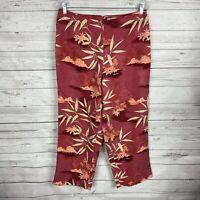 TOMMY BAHAMA Women's Silk Hawaiian Floral Cropped Pants Size 12 Lined Back Zip