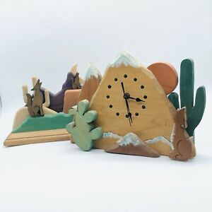 Vintage Southwestern Howling Coyote Wooden scene Clock and Figurine 2 piece set