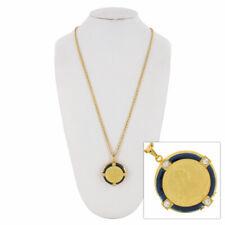 Photo Locket Necklace Large Blue Enamel Gold Tone Coin