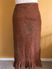 Peruvian Connection Rust Colored High/Low Ruffled Skirt - 8