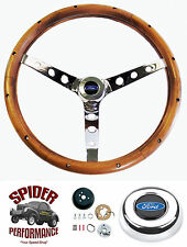 "1963-1964 Falcon steering wheel BLUE OVAL 15"" CLASSIC WALNUT"