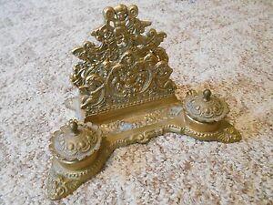 Old Vintage Antique Ornate Gold 2 Inkwells Paper Holder Cherubs Metal or Brass