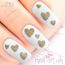 Glitter Gold Heart Adhesive Nail Art Stickers Decorations Decals