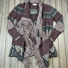 knox rose womens size XS knit cardigan open front fringe wool blend